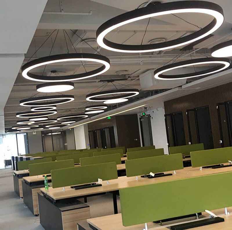 Hanging Light Round: Modern Office LED Pendant Lights Circle Round Suspension