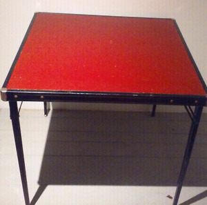Vintage COOEY Folding Card Table RED Vinyl Antique