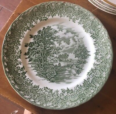 BEAUTIFUL GRINDLEY GREEN WHITE TRANSFERWARE CHINA COUNTRY STYLE DINNER PLATE