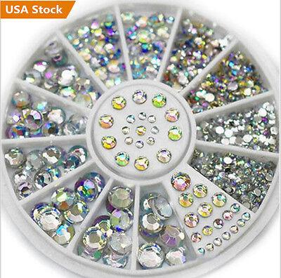 400Pcs Nail Art Rhinestones Glitter Diamond Gems 3D Tips DIY Decoration Wheel US