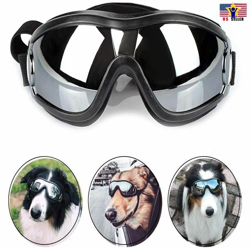 Dog Pet Puppy Cat Wind Waterproof UV Black Sunglasses Goggle Adjustable Straps