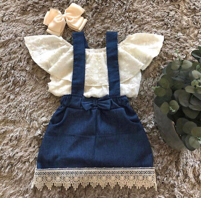 Lace Newborn Kid Baby Girl Top Suspender Skirt Dress Outfits Clothes Summer US S - Girls Clothes