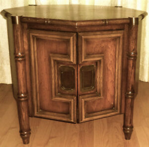 VINTAGE, SOLID WOOD OCTAGON SIDE TABLE, RARE!