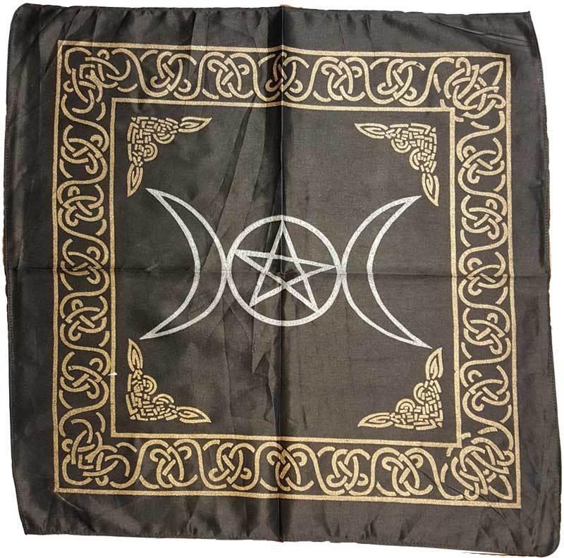 "Black rayon Triple Moon Pentagram & Celtic Knots 18"" Altar Cloth Tapestry"