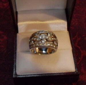 Wide Band Dinner Ring (white stones CZ) – Silver - Size 8