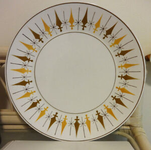 "MIKASA Platter // Large 12"" round Serving Plate // Japan Retro Excalibur / YELLOW BROWN sword design MCM 1950S 1960S MOD"