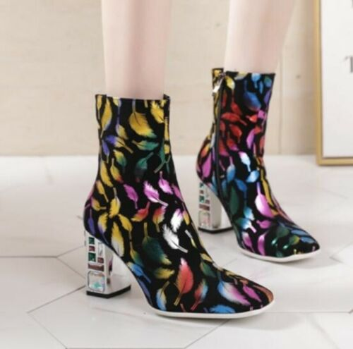 Details about  /Womens Block High Heel Cowboy Knight Ankle Boots Smart Work Office 45 46 47 48 L
