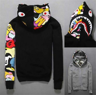 A Bathing Ape Men's Shark Head Jacket Sweat HOODIE Japan Bape Sweater Coat !