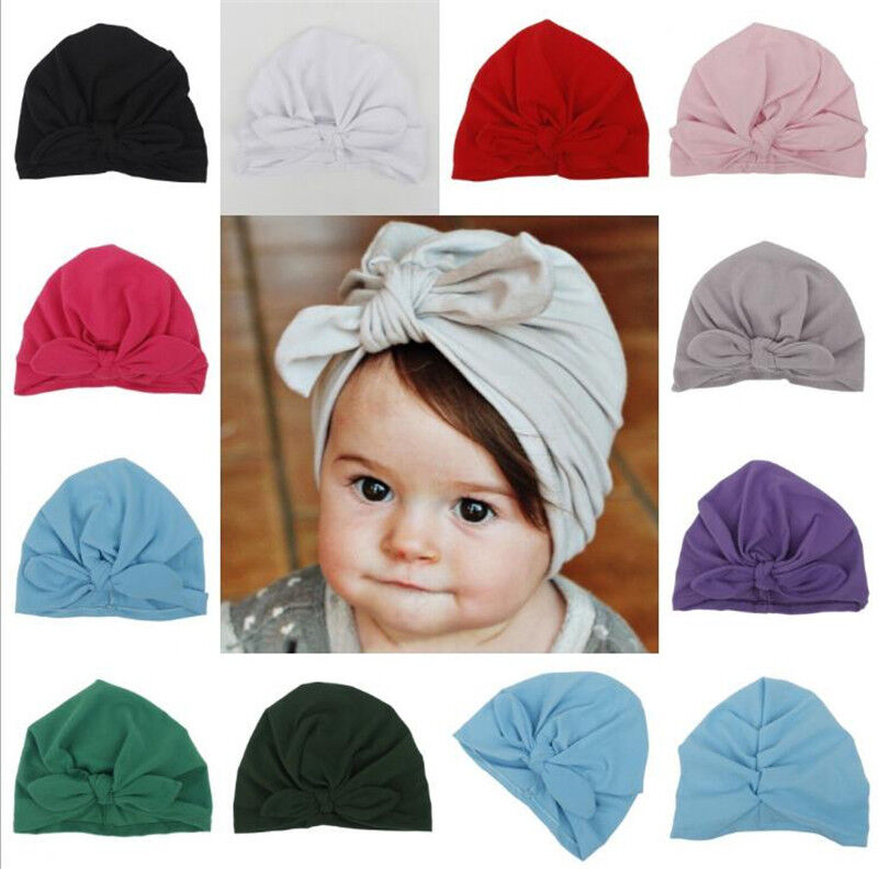 8676cc568f8 Baby Girls Turban Knot Head Wrap Cute Kids Rabbit Ear Hat Bunny Ear Cotton  Cap