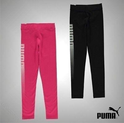 Puma Stretch Leggings (Junior Girls Branded Puma Casual Stretch Fit Logo Printed Leggings Size Age 7-13)