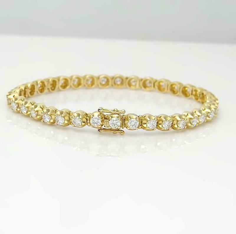"5.00 Ct Round Diamond Link Tennis Ladies Bracelet 7.25"" 14K Yellow Gold Over"