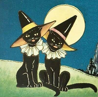 Halloween Hats For Cats (Halloween 2 Black Cats in Witches Hats Moon Old)