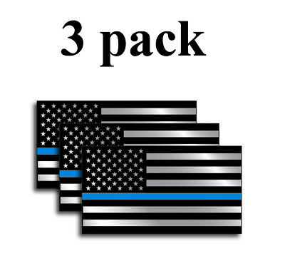3pk Police Officer American Flag Thin Blue Line decal sticker Blue Lives - Flag Stickers