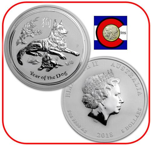 2018 Lunar Dog 5 oz Silver Coin, Series II, Australia/Australian in Mint Capsule