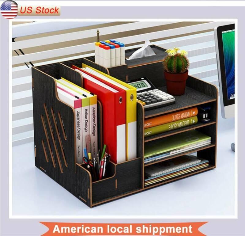 Wood Office Desk Organizer Desktop Office Supplies Storage B