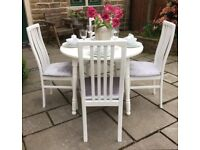 Round White Dining Table & 4 Silver Crushed Velvet Upholstered Chairs