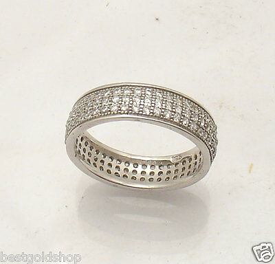 Eternity Three Row Pave Set Clear Brilliant C/ CZ Ring REAL 925 Sterling Silver