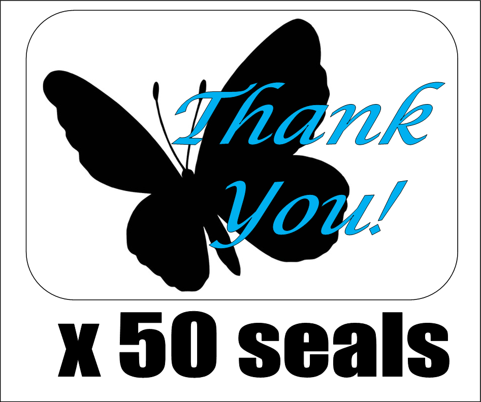 50 Butterfly Silhouette Thank You Envelope Seals / Labels / Stickers, 1 By 1.5  - $2.15