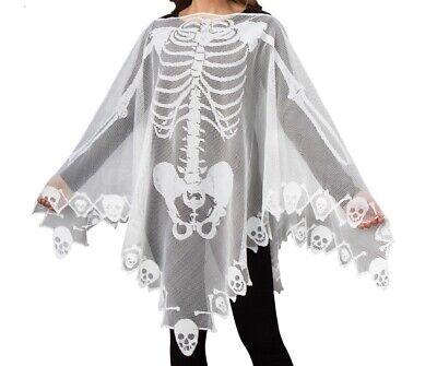 SKELETON BONES PONCHO COSTUME WOMEN ONE SIZE SPOOKY HALLOWEEN FUN NEW IN PKG](Spooky Costumes)