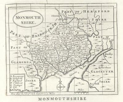 c1780 WALES Antique Map MONMOUTHSHIRE by John Seller / Francis Grose (GR)