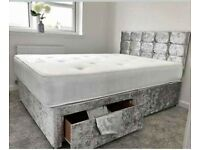 🔴🔵🏳️‍🌈DIVAN SILVER AND BLACK CV BED WITH 2 & 4 DRAWERS AVAILABLE IN STOCK🔋ALL SIZES AVAILABLE ⚡