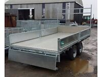 14ft x 6'6'' BUILDERS GALVANISED DROPSIDE TRAILER LED'S SPARE WHEEL LADDER RACK FULLY TYPED APPROVED