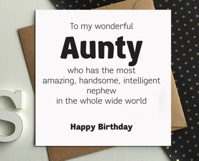 Aunt Auntie Aunty Birthday Cards From Nephew Funny Greetings Card