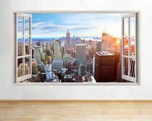 New york city nyc city landscape skyline window view wall for Decoration murale vue sur new york