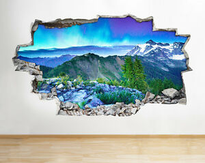 Mountains ocean sky smashed wall vinyl poster room wall for Foto murali 3d