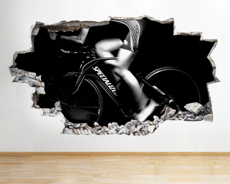 Wall Stickers Spin Class Bike Gym Exercise Smashed Decal 3D
