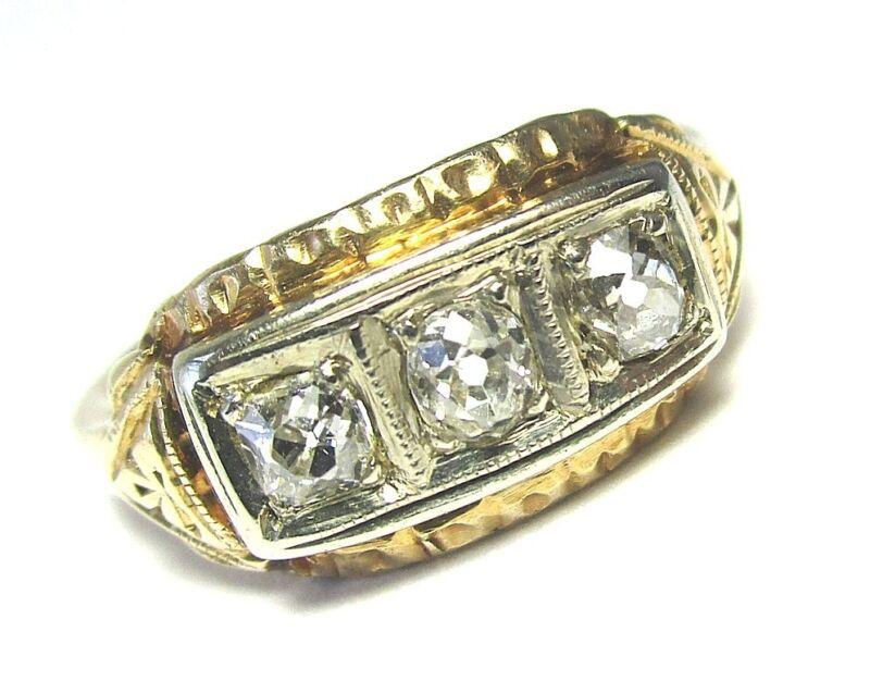 Vintage 14K Yellow / White Gold Diamond Ring 3.3 grams size 8 three diamonds: