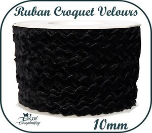 1M-RUBAN-GALON-CROQUET-SERPENTINE-NOIR-VELOURS-SCRAP-COUTURE-SCRAPBOOKING-10mm