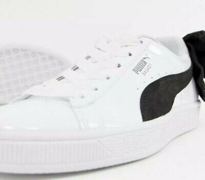 Puma Women's Glossy/Patent White Basket Bow Trainers  *Size 7* UK New with Box