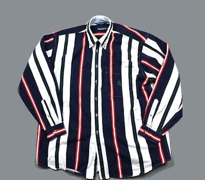 Nautica White Blue Red Striped Button-Front L/S Shirt 90s Color Block Men's XL