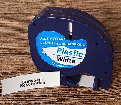 3x kompatible Schriftbandkassette für Dymo LetraTag LT-100H 12mm schwarz weiß