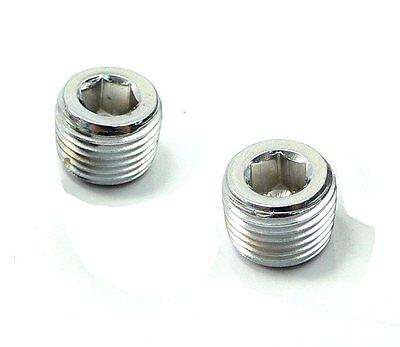 Pair 38 Npt Nptf Pipe Thread Allen Head Plug Chrome Plated Brass N-9p