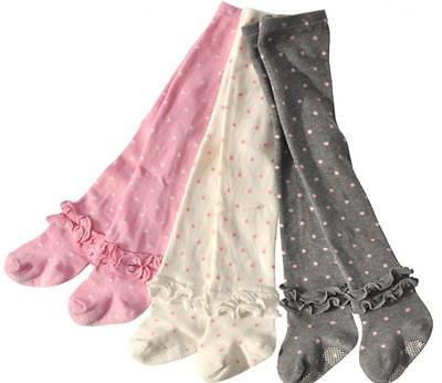 New Kids Girls Toddler Polka Dots & Frill Combed Cotton Knit Tights size 1.2.3.4 Cotton Polka Dots Tights