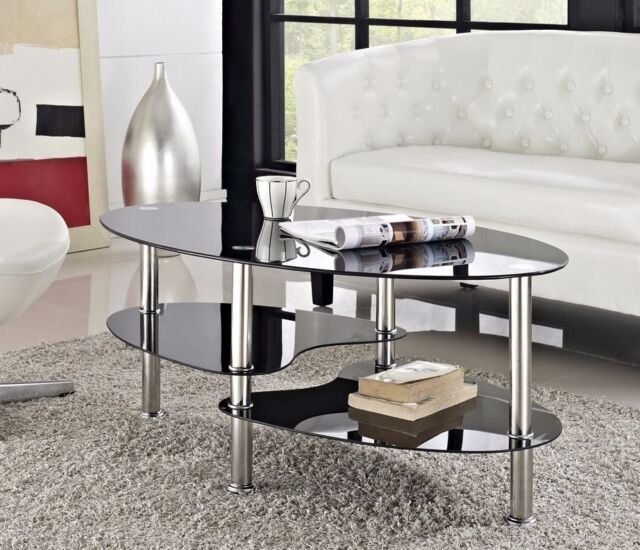 black glass coffee table. Modern Black Glass \u0026 Chrome Oval Living Room Coffee Table With 2 Shelves