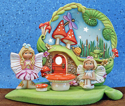 Ceramic Bisque Ready to Paint  Spring Fairy Scape with 2 fairies ~lighted~