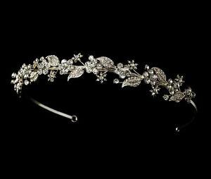 Silver Clear Floral Bridal Headband with Swarovski Crystals