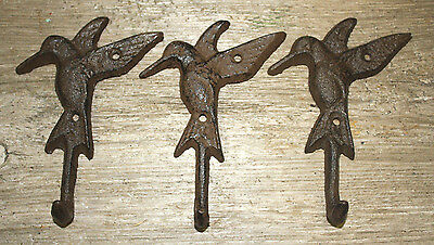 3 Cast Iron HUMMINGBIRD Towel Hanger Coat  Hat Hooks, Key Rack GARDEN Hook BIRD