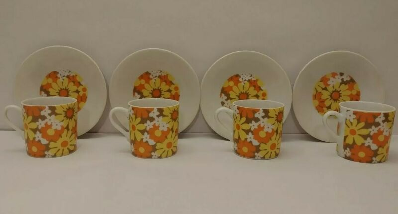Vintage Flower Power Retro Chocolate/Coffee 4 Cups & Saucers Made in Japan