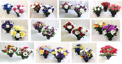 Memorial Grave Vase Artificial Flower Arrangement Cemetery Crematorium Silk Rose Ebay