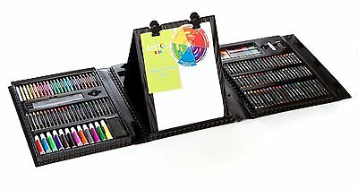Art Set For Kids 179 Piece Double Sided Trifold Easel Crafts Drawing Artists New