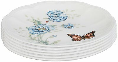 Lenox Casual Dinnerware Butterfly Mdw Dw Party Plates S/6 White Porcelain New
