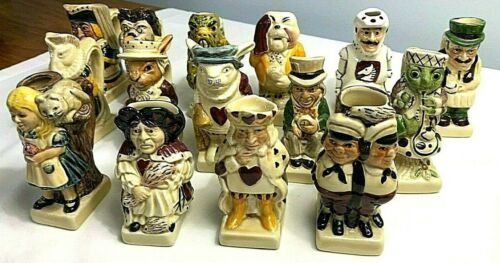 Tony Wood Alice In Wonderland Toby Jug Set of 15 Pieces Limited Edition