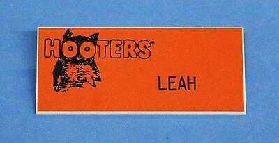 "Hooters Restaurant ""LEAH"" Orange Girl Name Tag / Pin -  Waitress Pin"