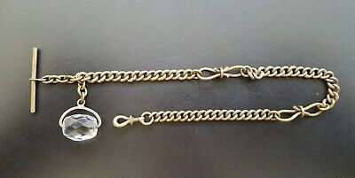 Antique Albert FOB Pocket Watch Chain with interesting rotating crystal FOB