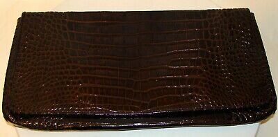 COLE HAAN BROWN PATENT LEATHER ALLIGATOR EMBOSSED CLUTCH PURSE  A132 Alligator Embossed Patent Leather