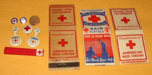 7 Vintage WWII Era American Red Cross Pins +3 Matchbooks